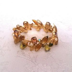 Vintage Gold Tone Fruit Salad Rhinestone Bracelet